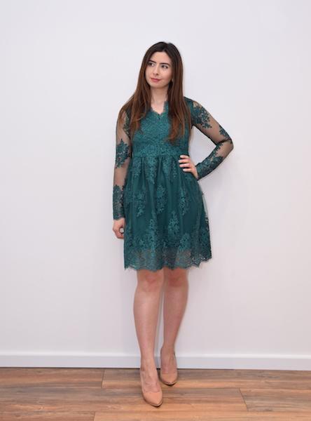 302 – Emerald Green Lace Prom Dress – www.melsdress.com