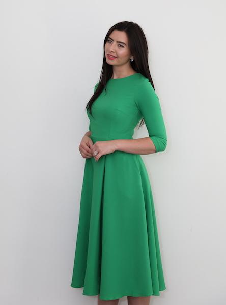 b7dde87b1d46 370 – Bright Green midi skater dress – www.melsdress.com