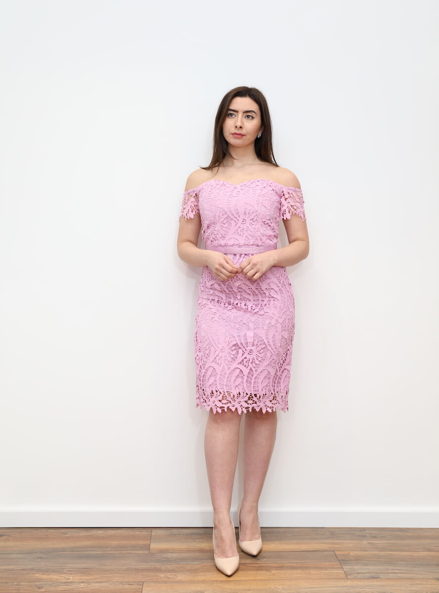 4f81dc60bd10 630 – Pink off shoulder crochet lace midi dress – www.melsdress.com