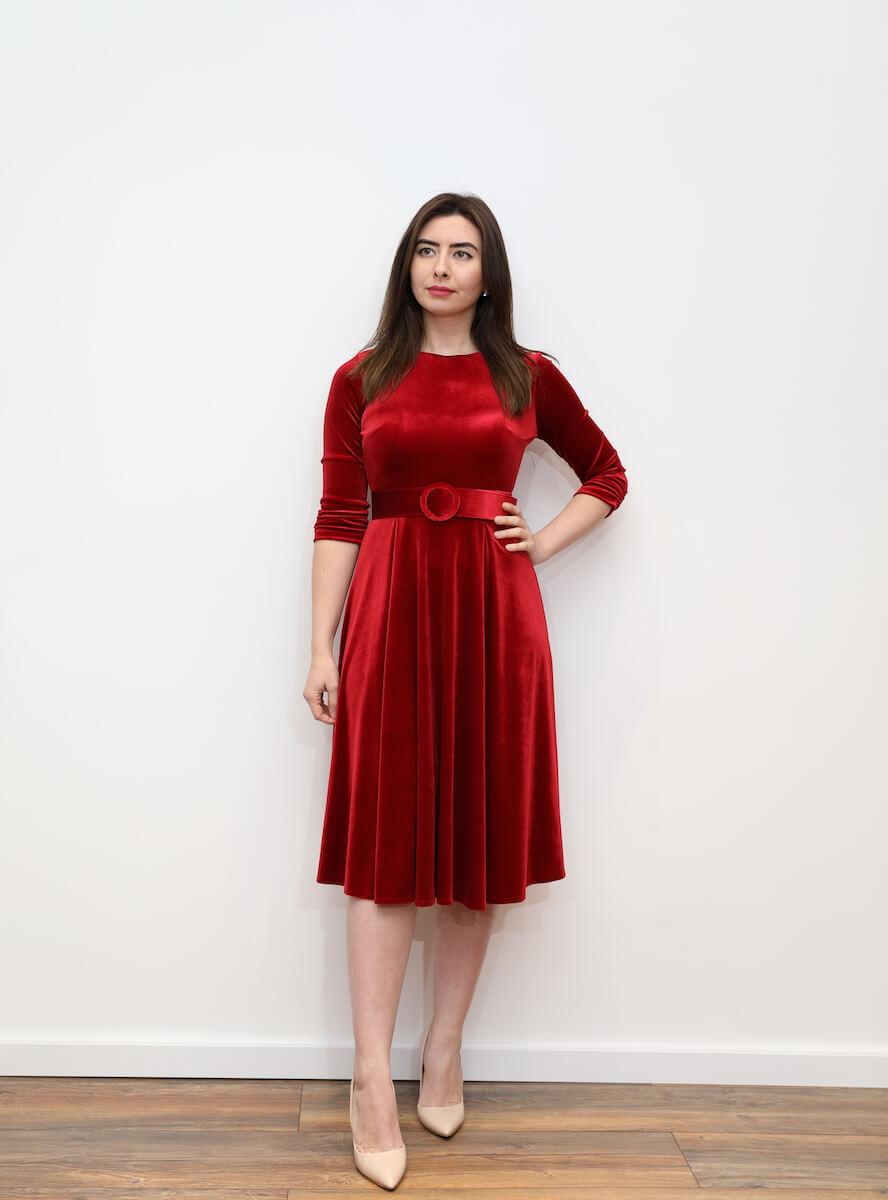 6f2e9afb36 651 – Red velvet midi skater dress with belt – www.melsdress.com