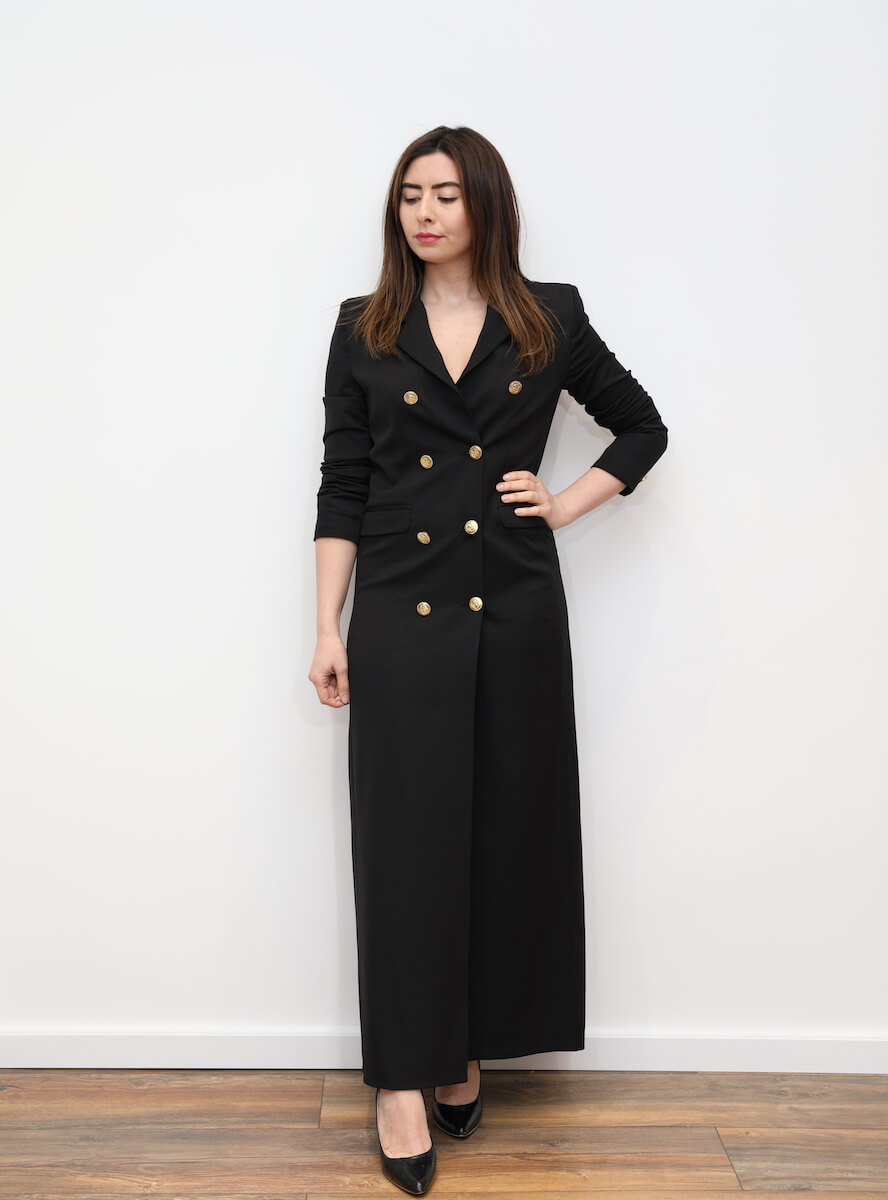 ee25642e50b 802 – Black maxi blazer dress with gold buttons – www.melsdress.com