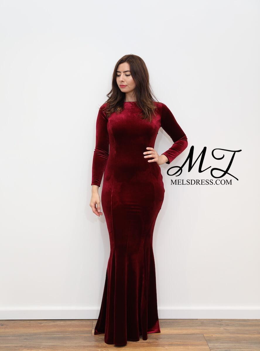 Super 1220 – Burgundy red velvet maxi dress with open back – www CE-84